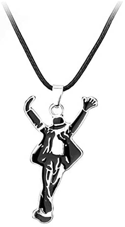 """925 Sterling Silver Plated Dancing King""""Michael Jackson"""" Charm Pendant Necklace"""