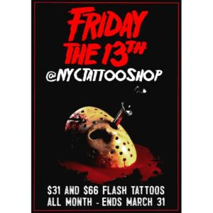 Brooklyn's NYCTattooShop Announces Friday the 13th Flash Tattoo Special That Can't Be Missed