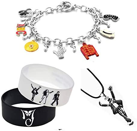 missuso MJ Jackson Bracelet with Classic Necklace for MJ Fans Memorial Collection